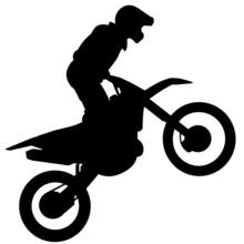 Silhueta De Motociclista - Atleta A Praticar Motocross