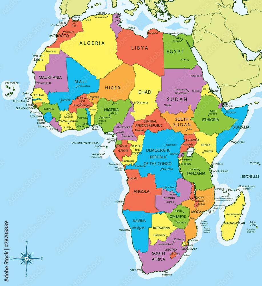 Plakat Mapa Afryki Z Krajami I Miastami Wally24 Pl