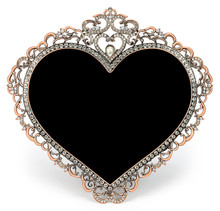 Metal Frame With Diamonds In Form Of Heart And Place For A Photo