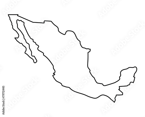 black outline of Mexico map Canvas Print