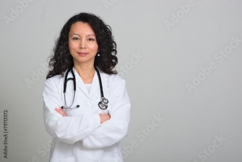 Valokuva Asian female doctor with stethoscope