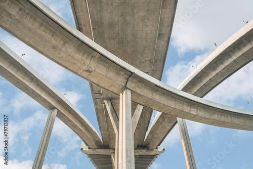 Carta da parati Elevated expressway. The curve of suspension bridge, Thailand.