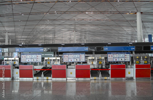 Foto op Aluminium Beijing Empty check-in cabinet in Beijing Capital Airport