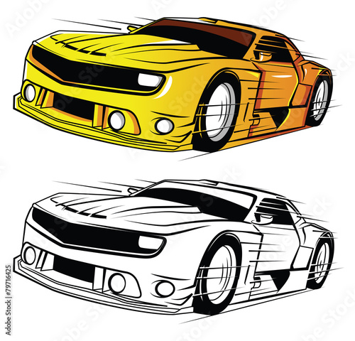 Staande foto Cartoon cars Coloring book Super Car cartoon character