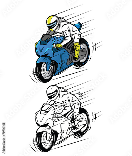 Printed kitchen splashbacks Coloring book Moto Race cartoon character