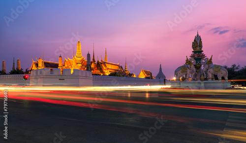 Aluminium Prints Bangkok Twilight bangkok at wat phra kaew