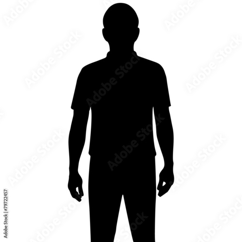 Láminas  Silhouette man isolated on white background