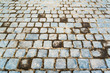 Old dirty blueish cobble stone pavementbackground image