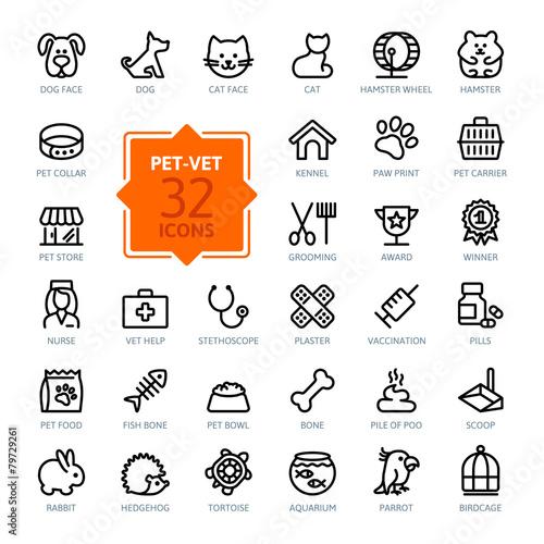 Fotografía  Outline web icon set - pet, vet, pet shop, types of pets