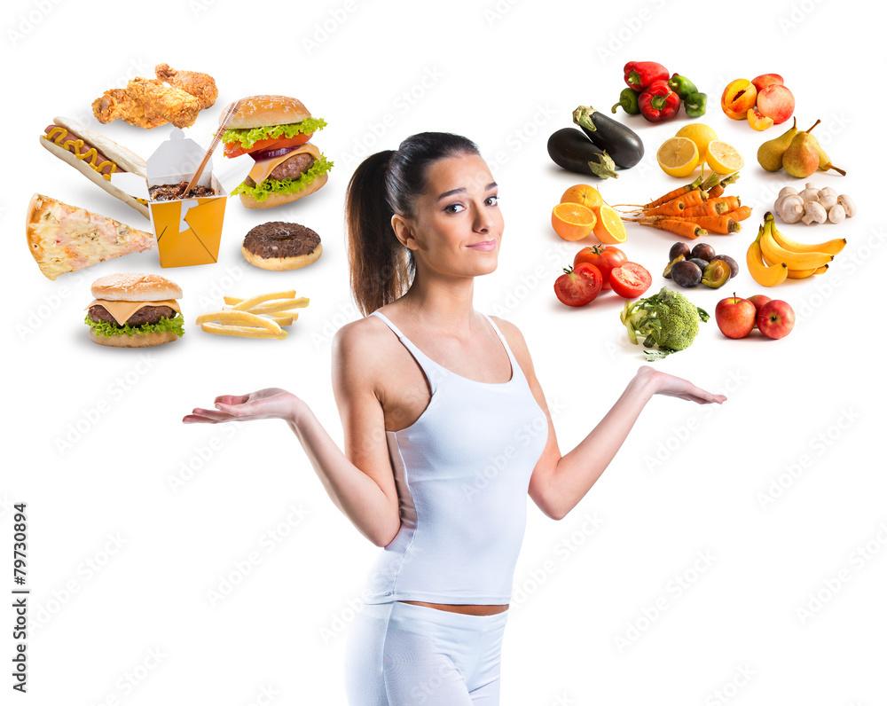 Fototapety, obrazy: Unhealthy vs healthy food