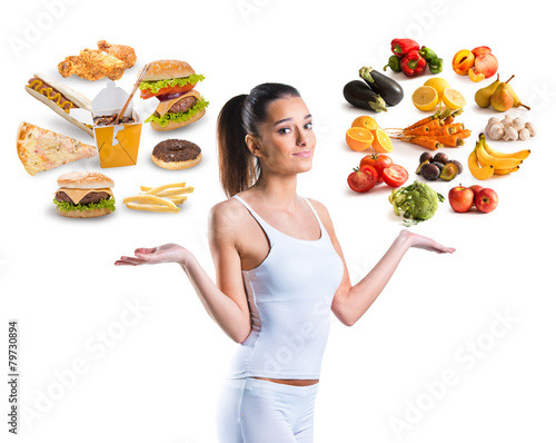 Fototapeta Unhealthy vs healthy food obraz