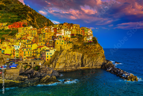 Fototapety, obrazy: View of Manarolaat sunset, Cinque Terre, Italy