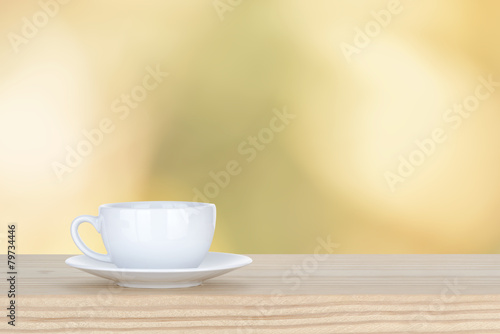 Fototapeta white cup of coffee on pine Wooden Table and bokeh,defocused lig obraz na płótnie