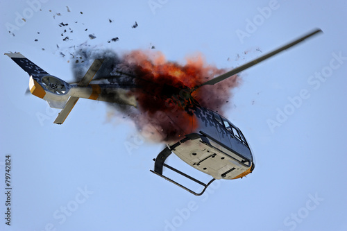 Poster Helicopter plane crash