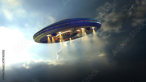 Photo  Alien UFO saucer flying through the clouds above Earth