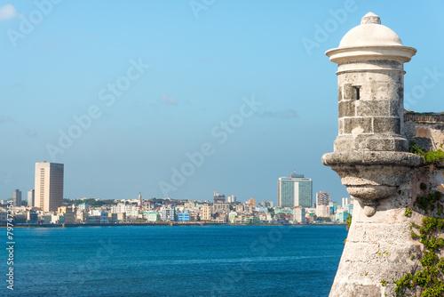 Photo  Havana skyline with El Morro on the foreground