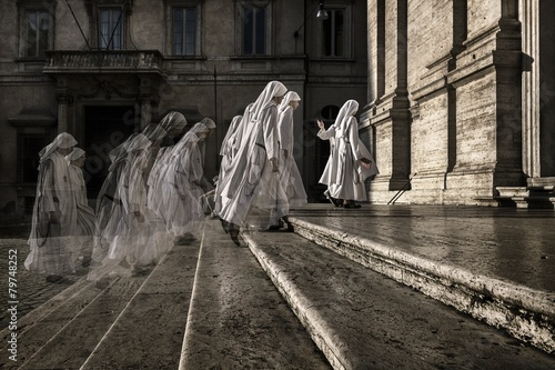 Fotografie, Tablou Group of nuns in Rome