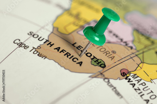 Poster Afrique du Sud Location South Africa. Green pin on the map.