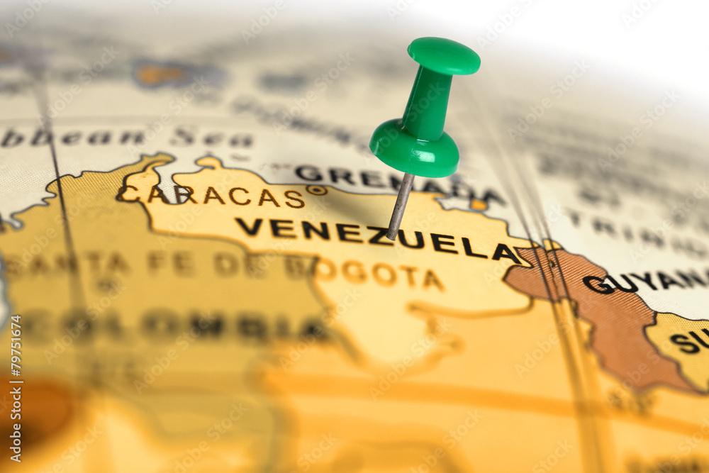 Fototapety, obrazy: Location Venezuela. Green pin on the map.
