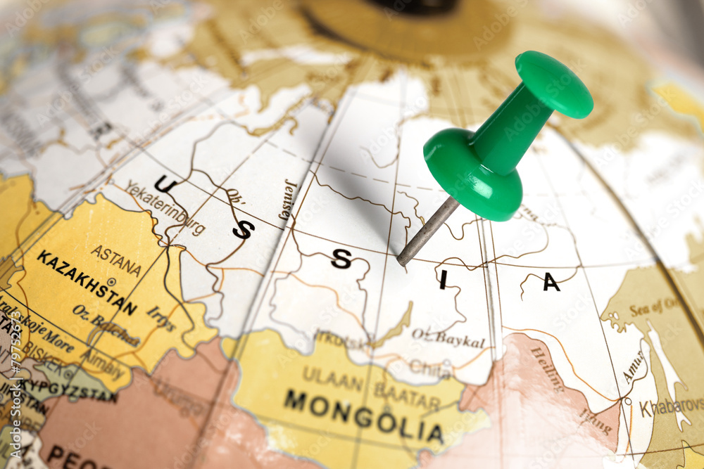 Fototapety, obrazy: Location Russia. Green pin on the map.