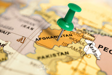 Location Afghanistan. Green Pin On The Map.