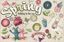 Set Of Spring Colored Doodles