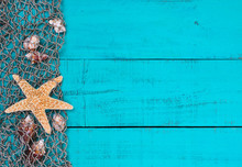 Blank Sign With Seashells And Starfish In Fish Net Border