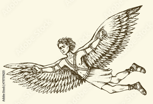 Icarus, character of ancient Greek legend. Vector drawing Fototapet