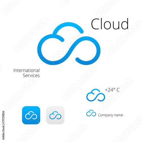 Cloud stylish logo and icons