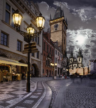 Prague, Old City Hall At Night