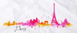 Fototapeta Fototapety Paryż - Silhouette watercolor Paris