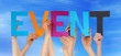 canvas print picture - Many People Hands Holding Colorful Straight Word Event Blue Sky