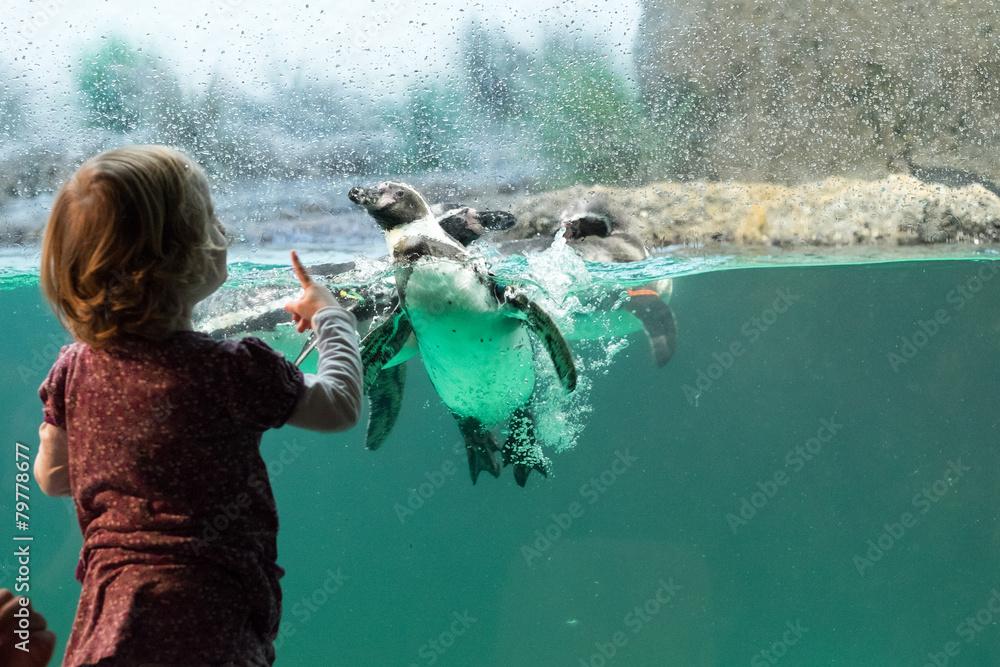 Kind vor Pinguinaquarium