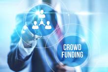 Businessman Pointing Crowdfunding , Virtual Interface