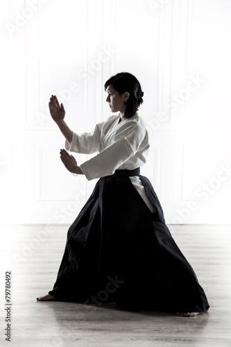 Obraz na plátně  beautiful woman practicing Aikido  1
