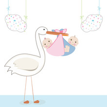 Twin Baby With Stork, Baby Arr...