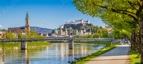 Historic city of Salzburg with river Salzach in spring, Austria