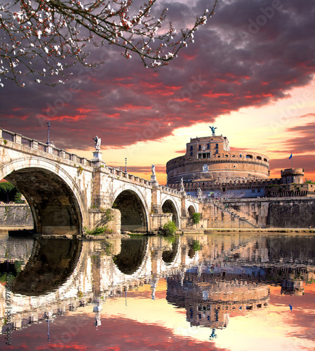 Poster Prague Angel Castle with bridge on Tiber river in Rome, Italy