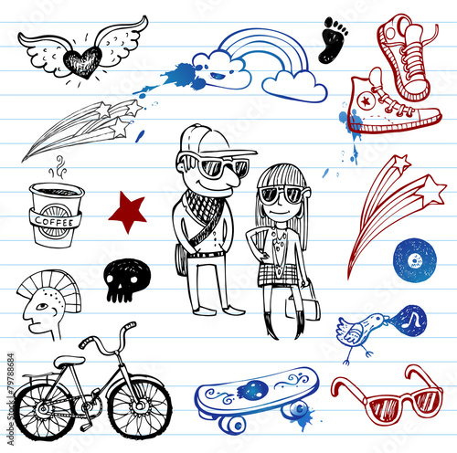 In de dag Doodle Hipsters doodle set