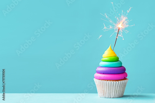 Colorful cupcake with sparkler Canvas Print