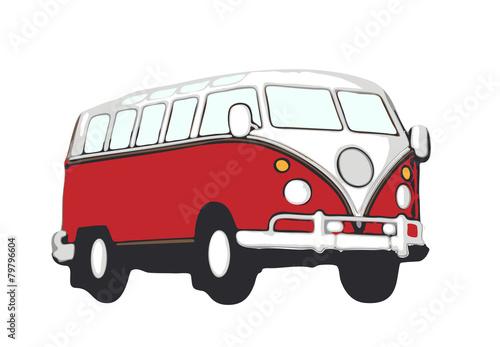 Photo  roter vw bus hippie