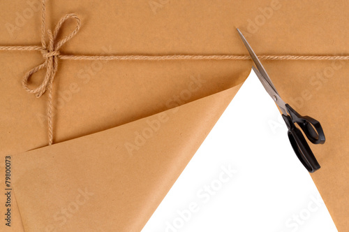 Fotografia, Obraz  Brown package with scissors
