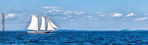 Vintage ship sailing at sea panorama