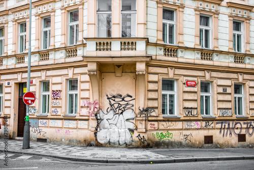 Foto op Aluminium Graffiti Historical building with walls painted in graffiti