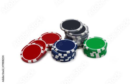 Gambling chips over white плакат