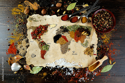 Recess Fitting Spices Map of world made from different kinds of spices
