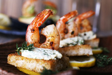 Appetizer Canape With Shrimp A...