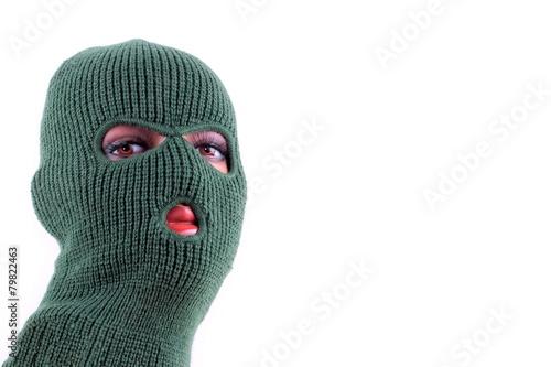 Photo Green balaclava mask on manikin's head