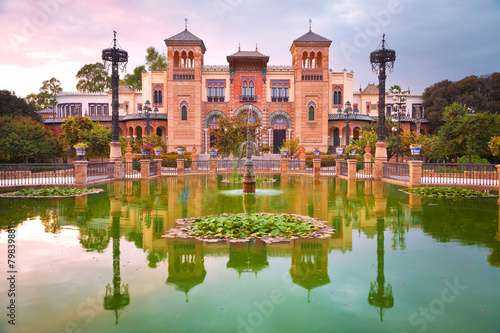 Mudejar Pavilion and pond at sunset, Sevilla, Spain