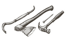 Carpentry Tools On A White Background. Sketch
